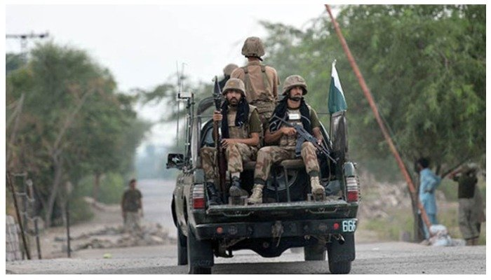 Pakistan Army personnel patrolling on a vehicle in an area of Balochistan — AFP