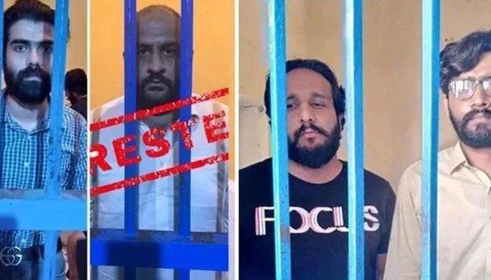 Usman Mirza and his accomplices pictured behind bars. — Islamabad Police