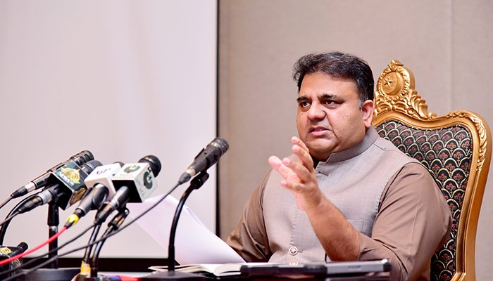 Federal Minister for Information Fawad Chaudhry addressing a post-cabinet press conference in Islamabad, on September 28, 2021. — PID