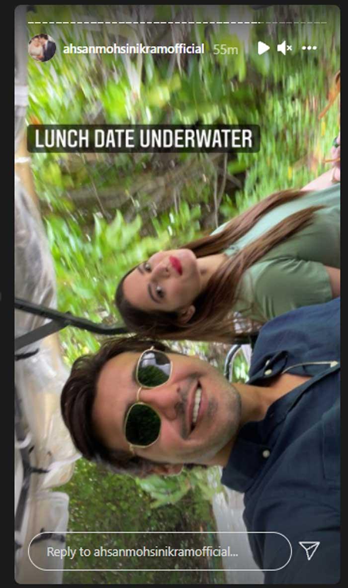 Minal Khan and Ahsan Mohsin Ikram enjoy lunch date at underwater restaurant