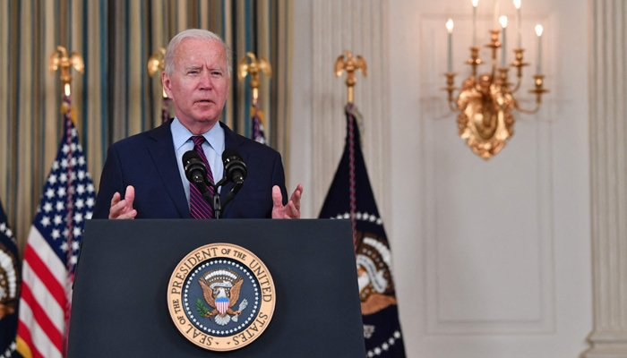 US President Joe Biden delivers remarks on the debt ceiling from the State Dining Room of the White House on October 4, 2021 in Washington. — AFP