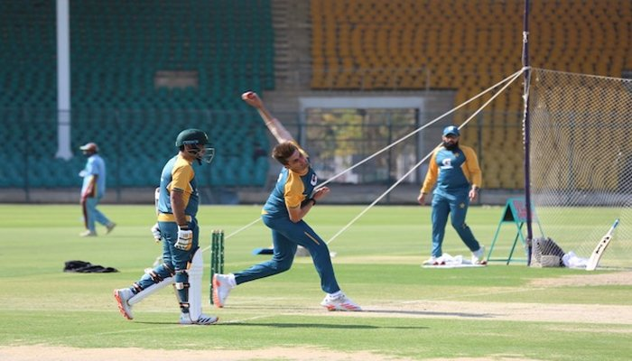 Pakistans cricket squad training. Photo— Twitter/PCB/File