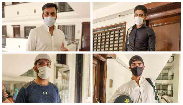 Pakistani cricketers gather at a hotel in Lahore.