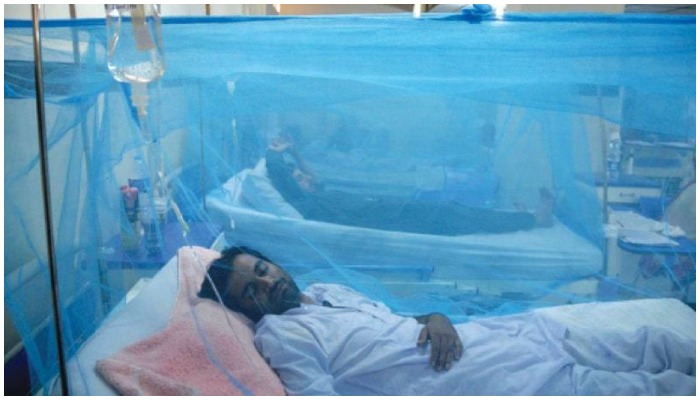A dengue patient lying on a hospitals bed in Pakistan. Photo — AFP