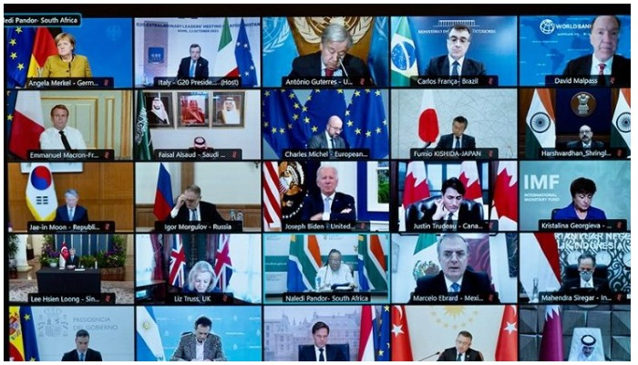 A handout picture made available on October 12, 2021 by the Press Office of Palazzo Chigi shows a television screen where appear, international leaders, as they take part in a virtual G20 leaders summit focused on Afghanistan on October 12, 2021.
