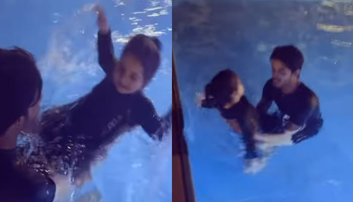 Aiman Khans daughter Amal jumps out of joy during swimming pool lessons