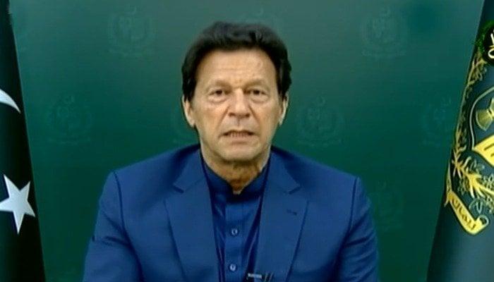 Prime Minister Imran Khan addressing the nation on April19, 2021. Photo: Screengrab via Geo News.
